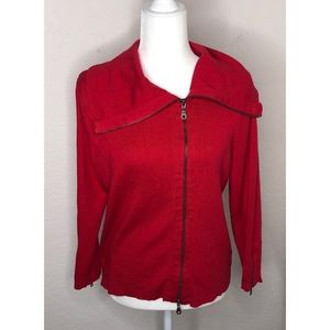 CAbi Medium Red Zipper Front Sweater